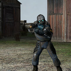 Overwatch Soldier firing at Freeman with his OSIPR at <a href=