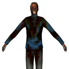 Citizen corpse (front), featuring an old Citizen outfit, with an orange logo and straps in the back, featured in <i>Half-Life 2'</i>s E3 2004 trailer.