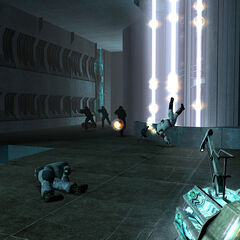 Killing Combine soldiers with the transformed Gravity Gun.