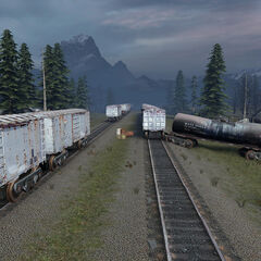 Railway and damaged railroad cars in the White Forest.