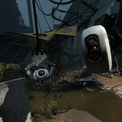 GLaDOS grabbing Chell and Wheatley with mobile pincers.