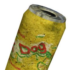 Yellow T Dog soda can.