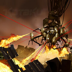 Concept art for WheatDOS defending himself with flame-throwers and turrets during an early version of the final showdown.
