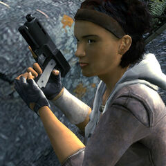 Alyx wielding her gun in the Outlands.