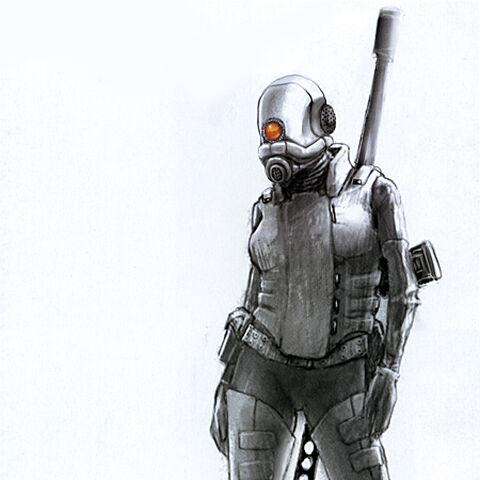 The original concept art for the Combine Female Sniper.