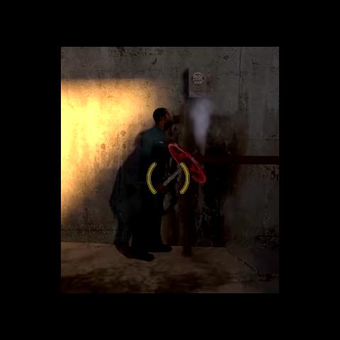 Duncan holding the broken valve.