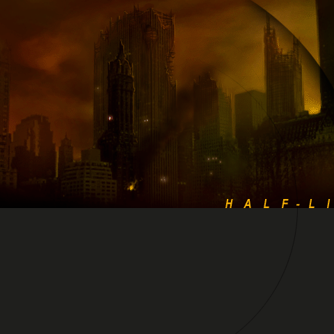 Very first <i>Half-Life 2</i> menu background, dated 1998. Of note are the American skyscrapers skyline in the back.