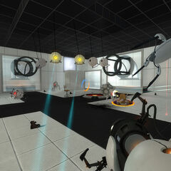 Hover Turrets firing at the player while dangling from the ceiling in an early test map.