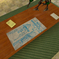 A Displacer Cannon blueprint chart seen on a table in the same chapter.