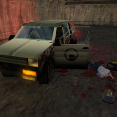 Abandoned Black Mesa SUV, with a dead scientist and security guard.