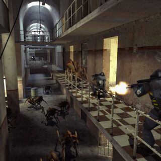 Overwatch Soldiers battling Antlions with OICWs in cell block B4 in the Beta Nova Prospekt.