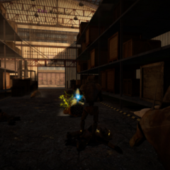 A Combine Synth Soldier Engaging with Houndeye Screenshot.