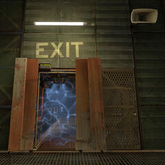 Material Emancipation Grill-equipped Test Chamber 02's exit.