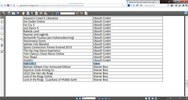 Half-Life 3 On Gamescon listing