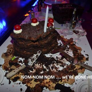 The cake half eaten.