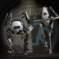 The two robots running.