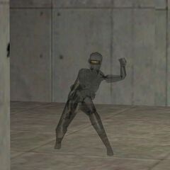 A female Black Ops throwing a grenade with her cloaking device on.