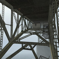 The underside of the Bridge Point bridge, which shelters <a href=