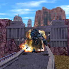 The Gargantua exploding on the dam.