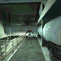 Early stalker being fought in the playable Half-Life 2 beta