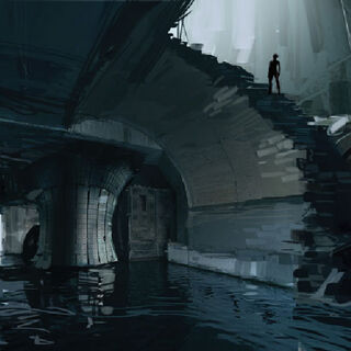 Concept art of Chell on ruined stairs.