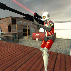 Custom Combine Assassin player model in <i>Half-Life 2: Survivor</i>, with the cut Sniper Rifle.