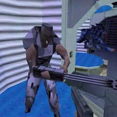 The Human Sergeant, his Minigun and a Panthereye in an early map showcasing all the game's enemies.