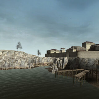 Lighthouse, shanty town, and prison buildings in the prototype map