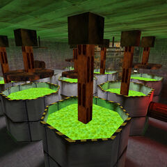 Glowing vats of radioactive waste.