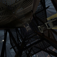 Looking up the shaft while ascending.