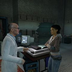 Kleiner and Alyx discussing the start of the rebellion in the partially destroyed lab.