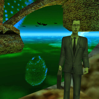 Standard Boids behind the G-Man in <i>Half-Life</i>.