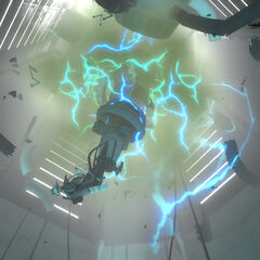 GLaDOS ascends while being destroyed.