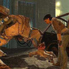 Alyx and Dog at the foot of the Citadel in an early <i>Episode One</i> screenshot.
