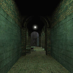 The hallway seen in the <i>Get Your Free TVs!</i> official screenshot, seen from opposite.