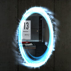 Early portal in Test Chamber 13, used as the basis of the portal in the game's logo.