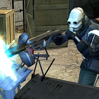 A Metrocop killing Rebels with the Emplacement Gun.