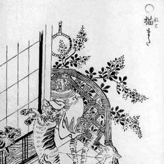 Nekomata (left), a type of felid demon and yōkai.