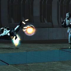 Un élite du Cartel désintégré par le tir alternatif du fusil à impulsion de Gordon Freeman.