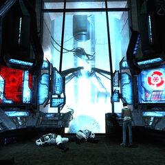 Alyx et Gordon dans la citadelle de Cité 17, près d'eux on peut apercevoir des soldats d'élite du Cartel décédés.