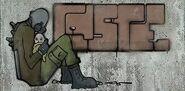 Графити метрокоп с ребенком
