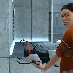 Chell vista a través de un Portal en Portal
