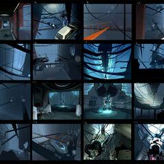 Arte conceptual de un viaje alrededor de la cámara dañada, basado en las capturas de pantalla de portal, siendo mostradas por primera vez por Game Informer