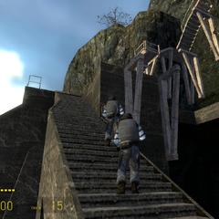 Soldados Overwatch subiendo una escalera hacia la inglesia de St. Olga