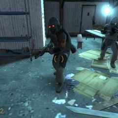 Soldados Overwatch protegiendo una barricada