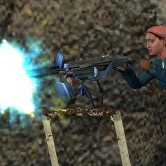 Rebelde defendiendo el Campamento Vortigaunt de los Antlions con una Ametralladora