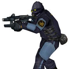 Modelo de Guardia de Nova Prospekt con un Rifle de Pulso