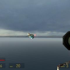 Nave de Guerra atacando a Gordon en la base Punto del Faro.