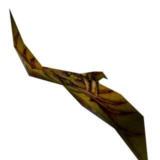 Modelo de la animación del Boid amarillo herido, teniendo dificultades para volar