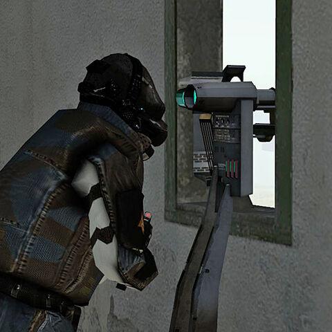 Un Soldado Overwatch utilizando los Binoculares